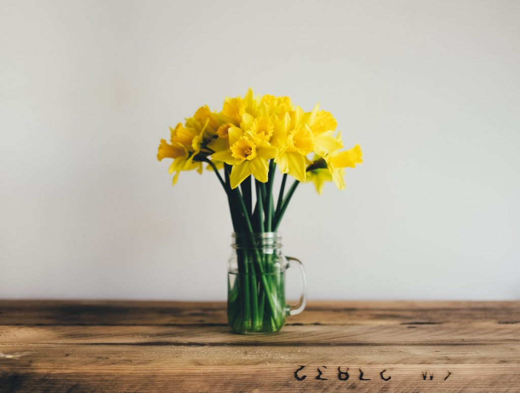 hiring professionals to do spring cleaning will make your home clean and fresh, like a vase of daffodils in this photo