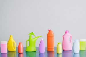 Bottles of cleaning products, representing cleaning items from storage.
